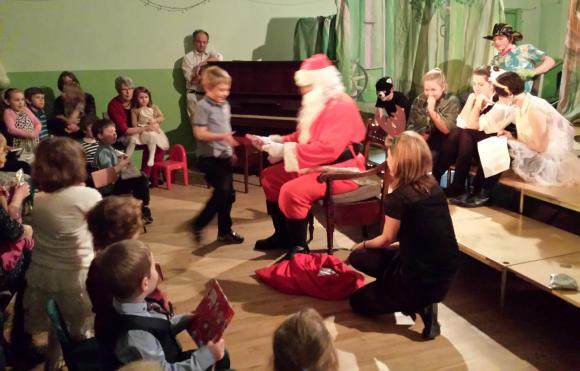 Santa at Junior Church Christmas Party 2013